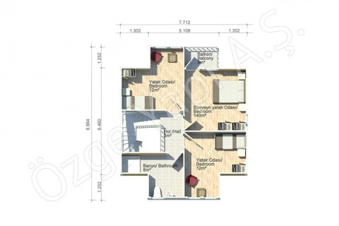 Erguvan 124 m2 - First Floor
