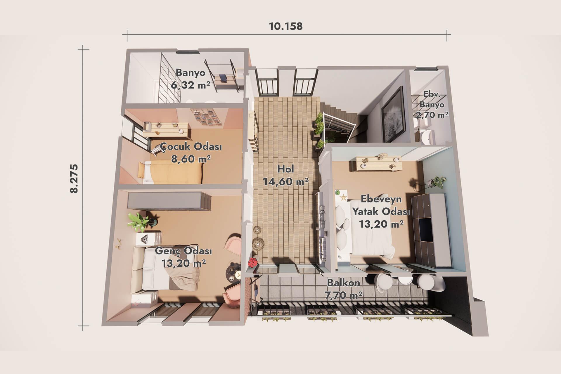 Prefabricated Modern Villas 160 m2 - Ground floor